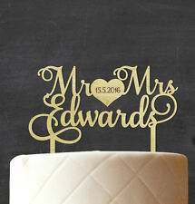 Mr & Mrs Wedding Rustic Cake Topper With Date Persoanlzied Wooden Cake Topper