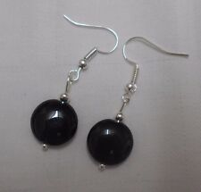 Unique handmade black onyx earrings silver plated round beads free stoppers