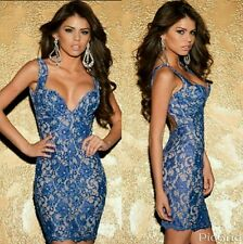 Ladies Blue shiny lace backless bodycon dress celeb sexy Towie party Size 8-10