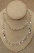 Vintage Strand Aurora Borealis Crystal Bead Necklace slip over head 14-1/2""