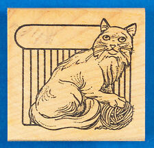 Cat Name Plate Rubber Stamp - Long Haired Cat with Ball of Yarn - Stamp Pad Co