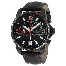 Certina DS Podium GMT Black Dial Black Leather Mens Quartz Watch C0016391605702