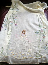 Vintage/Antique Embroidered 1910s-1920's Apron Flowers & 18th Century Woman