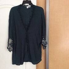 New - Xhilaration Hunter Green/white Embroidery Open Cover Women Top Size XL