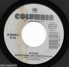 WHAM! / GEORGE MICHAEL * 45 * Everything She Wants * 1985 #1 * UNPLAYED ! water