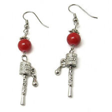 Pair Vintage Tibetan Red Coral Mantra OM Mani Spin Prayer Wheel Dangle Earrings
