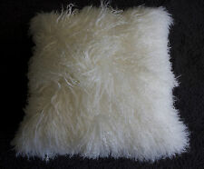 FEATHER SOFT 50CM PURE WHITE LONG STRAND GENUINE MONGOLIAN LAMB CUSHION COVER
