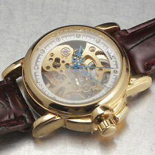 Women Gold Steel Skeleton Crystal Automatic Mechanical Watch Brown Leather Band