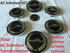 7x AC SCHNITZER BMW Badge Emblem Set Wheel Centre 7x Caps e60 e61 e46 E70 E90 X5