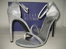 $415 NEW BOX Stuart Weitzman Nudist Dress Sandals US 12 High Heels Shoes Silver