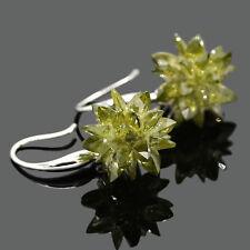 Flower Drop Zircon Earrings Fashion Women Vintage Jewelry Sterling Silver 925