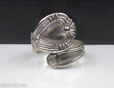 Old Sterling Silver Spoon Ring Designer Wrap Bypass Band Heart Nouveau style