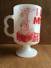 Vintage I LOST MY A IN RENO NV Collectible Donkey Milk Glass Coffee Mug Footed