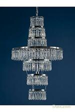 DUSX Vintage Art Deco Chrome & Clear Crystal 3 Arm Chandelier Ceiling Light