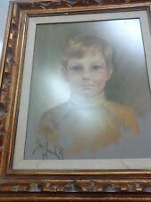 Framed PASTEL PORTRAIT Child BOY Blonde Signed & dated 1971
