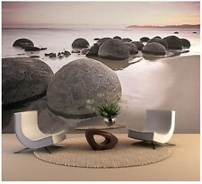 Giant Wall Mural photo wallpaper 366x254cm Giant Round stones on the beach decor