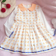 Kawaii Princess Sweet Lolita Cute Duck Printing Doll collar Dress Long Sleeve