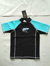 BNWT Boys Sz 6 Aqua/Black 2Sea Australia Short Sleeve Swimming Rash Vest UPF 50+