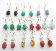 MODERN & MIX GEMSTONE 10PRWHOLESALE! LOT 925 SILVER STERLING OVERLAY! EARRING!!