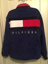 Tommy Hilfiger Vintage Fleece Big Logo Navy/Red Size L Oversized