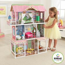 Barbie Size Wooden Dollhouse with Furniture Girls Playhouse Doll Play House NEW