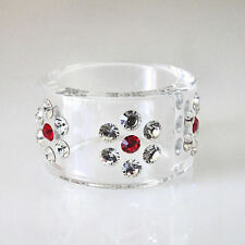 Clear Acrylic Ring 3 Clear Flower Swarovski Elements Crystal Red Center Size 5