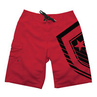 FAMOUS STARS & STRAPS FMS Logo Men's Shield Board Shorts in Red/Black - 34w (L)