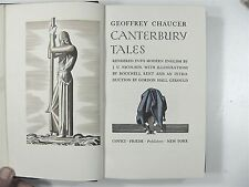 Handsome CANTERBURY TALES by CHAUCER Illustrated by ROCKWELL KENT Leather Bound