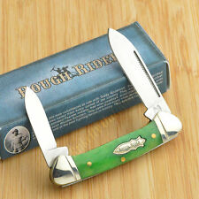 Rough Rider Peacock Smooth Bone 440 Stainless Mini Canoe Pocket Knife RR057