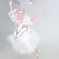 """Nutcracker Ballet Snow Queen Ballerina 6.75"""" Resin Christmas Ornament New"""