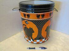 """Retro Halloween Black Cat Orange Pumpkin Tin  12"""" Can Balto Indecco USA Badger"""