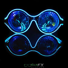 Wormhole Kaleidoscope Blue Luminescence Diffraction Glasses Rave LED EL Light Up
