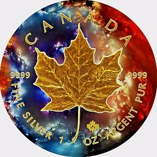 2017 1 Oz Ounce Canadian Silver Maple Leaf Coin .999 Nebula Galaxy 2 Gold Gilded
