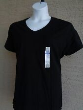 NWT Just My Size Short Sleeve V Neck Jersey Women's Tee Black 2X 18-20 W