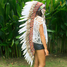 Free Shipping! Indian Headdress - Extra Long - Real Feathers - White