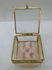 VINTAGE JEWELRY CASKET BOX MADE in FRANCE BEVELED GLASS ORMOLU TUFTED SILK