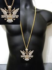 """Gold Dipset Eagle Bird Wings Hip Hop Pendant Miami Long Cuban Chain 36"""" Iced Out"""