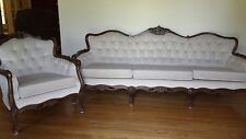 Queen Anne Style Formal Sofa & Chair with cream colored crushed velvet material