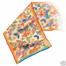 Laurel Burch 100% Silk Oblong Scarf Metallic Colorful Butterflies Creme NWT