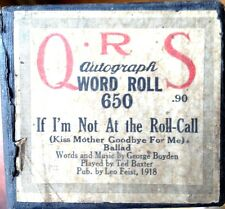 """QRS Word """"IF I'M NOT AT THE ROLL CALL"""" Ted Baxter Played Player Piano Roll 650"""