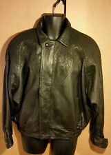 Cool Black 80-90s Batwing Style Men's Leather Bomber Jacket