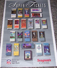 """SUPER TICKETS ~ 36"""" x 22"""" SEAGRAMS N.F.L. SUPER BOWL POSTER IN NEW CONDTION"""