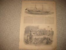 ANTIQUE 1853 STEAM YACHT EGYPT MARITIME PRINT FARM YARD FARMING AGRICULTURE NR