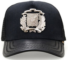 NEW GOLD STAR SILVER/LEATHER DR COAT OF ARMS TRUCKER HAT GOLD STAR
