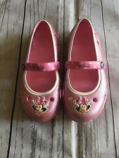 Crocs Toddler Girl Keeley Disney Minnie Mouse Glitter Pink Mary Jane Sz 10