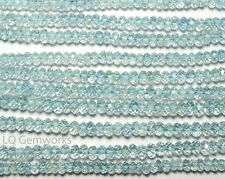 "13"" Strand AQUAMARINE 3.5mm Micro-Faceted Rondelle Beads NATURAL AAA /D2"