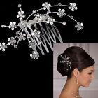Lady New Rhinestone Crystal Silver Clip Headband Veil Tiara Prom Wedding Bridal