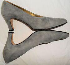 ESCADA Vintage High Heels Shoes Gray Suede Leather 6.5 36.5 B HapaChico Haute