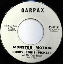 BOBBY (BORIS) PICKETT & THE CRYPT-KICKERS 45 Monster Motion GARPAX Novelty D402