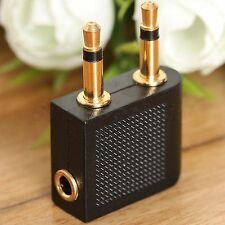 2Pcs Dual 2x 3.5mm Mono Jack Plugs M to 3.5mm Stereo F Audio Connector Adapter